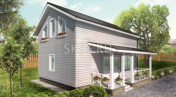 Двухэтажный дом с террасой и мансардой
