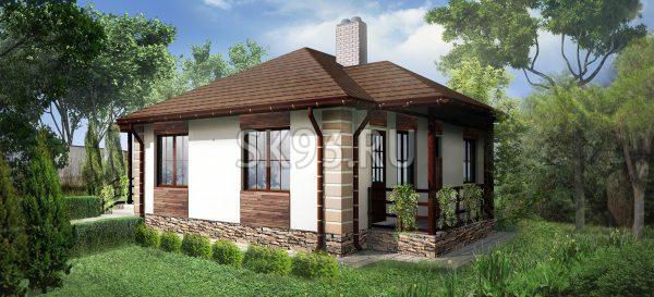 Одноэтажный дом со сложной кровлей