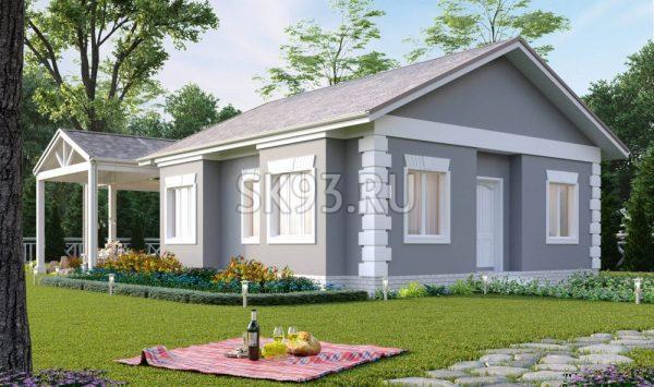 Дом с большой крытой террасой