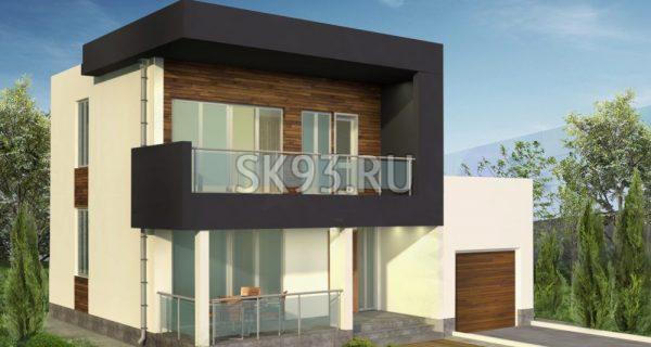 Двухэтажный дом с балконом и террасой