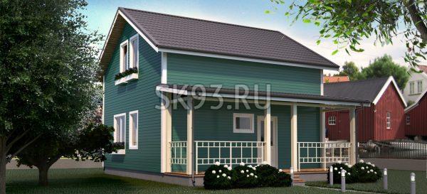 Двухэтажный дом с террасой и двухскатной крышей