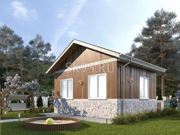 Одноэтажный дом в деревенском стиле