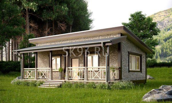 Небольшой одноэтажный дом с террасой